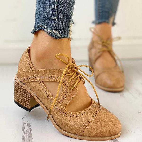 Flamechill Lace-Up Cut Out Chunky Heels