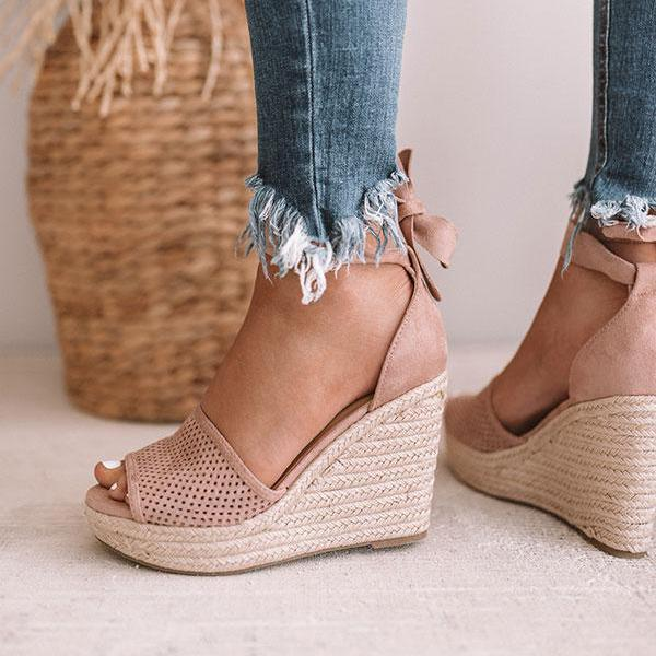 Flamechill Espadrille Lace Up Wedge Braided Sandals