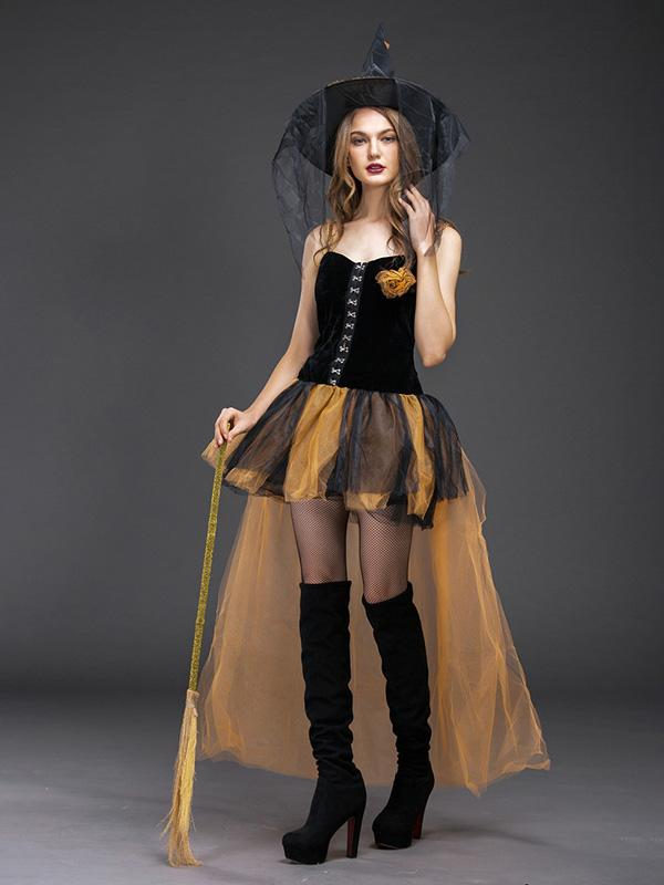 Flamechill Masquerade Cosplay Yellow Skinny Witch Dress