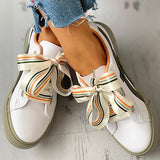 Flamechill Colorful Ribbon Lace-Up Casual Sneakers