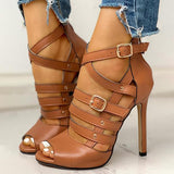 Flamechill Solid Hollow Out Ankle Strap Thin Heeled Sandals