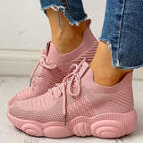 Flamechill Non-Slip Knitted Breathable Lace-Up Yeezy Sneakers