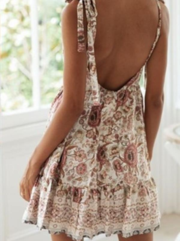 Flamechill Summer New Sexy Deep-v Backless Beach Vacation Printed Dress