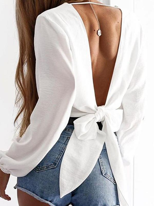 Flamechill Sexy Slim-Fit Long Sleeve Knotted Top