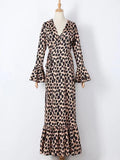 Flamechill Ruffled Leopard Print Maxi Dress