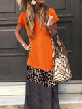 Flamechill Casual Color Block Leopard Maxi Dress