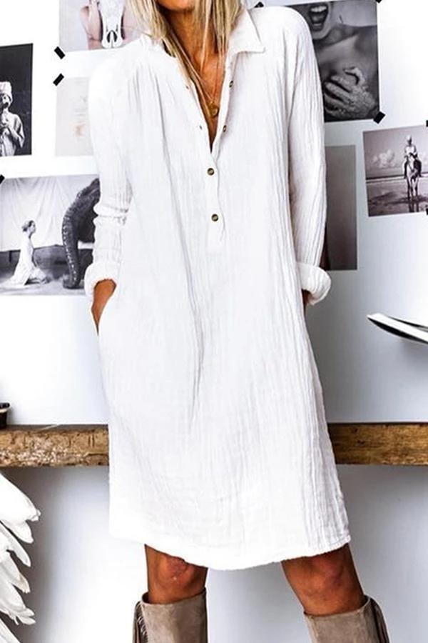 Flamechill Solid Linen Button Down Shirt Dress