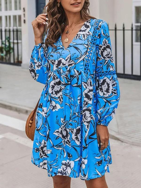 Flamechill Blue Paneled V Neck Shift Long Sleeve Dress