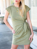 Flamechill Olive Knot Front Casual Dress