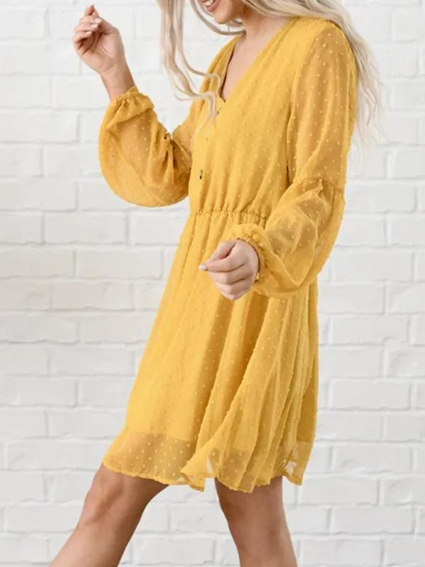 Flamechill Women V Neck Long Sleeves Elastic Waist  Dress
