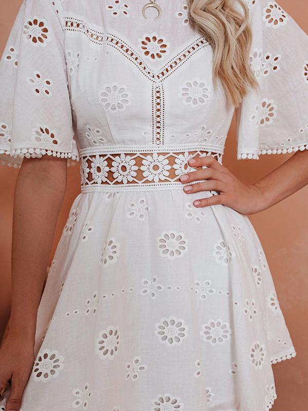 Flamechill Roundup Cotton Crochet Eyelet Dress