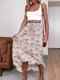Flamechill Polyester Asymmetrical Hem Flower Skirt