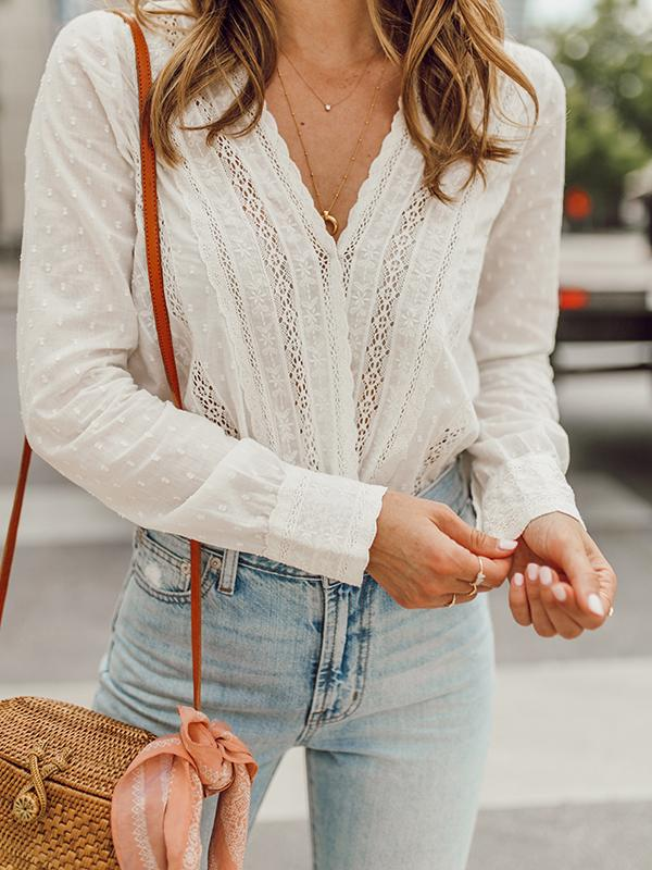 Flamechill White V-neck Long Sleeve Lace Pattern Blouse