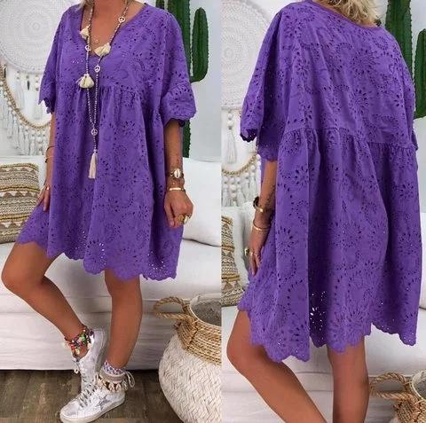 Flamechill Plus Size V Neck Women Cotton-Blend Laser Cut Plain Dress