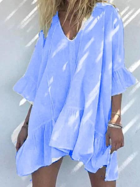 Flamechill Holiday Beach V Neck Cotton Plain Dress