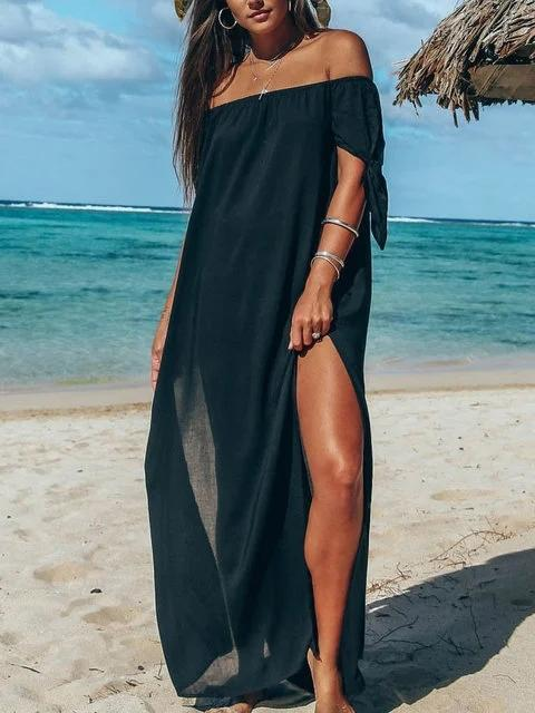 Flamechill Daily Beach Sleeveless Solid Off Shoulder Dress