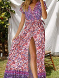 Flamechill Short Sleeve Summer Floral Holiday Cotton Dress