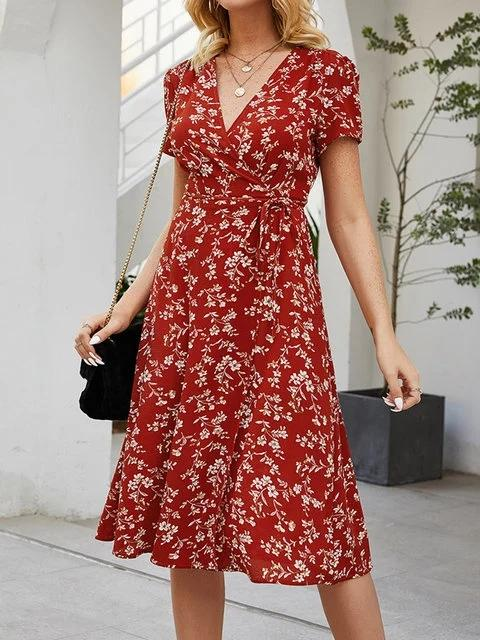 Flamechill Paneled V Neck Ruffled Casual Floral Dress