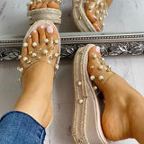 Flamechill Transparent Espadrille Platform Sandals