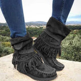 Flamechill Women's Casual Flat Suede Fringe Round Toe Retro Boots