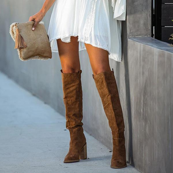 Flamechill Distressed Faux Suede Slouch Boots