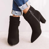 Flamechill Women Fashion Zipper Ankle Boots