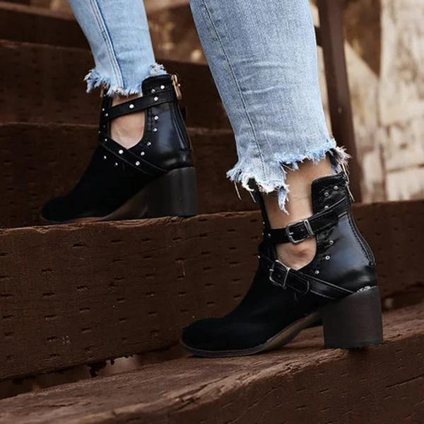 Flamechill Rivet Boots Side Zipper Boots