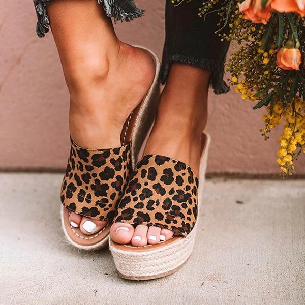 Flamechill Fashion Leopard Wedge Sandals
