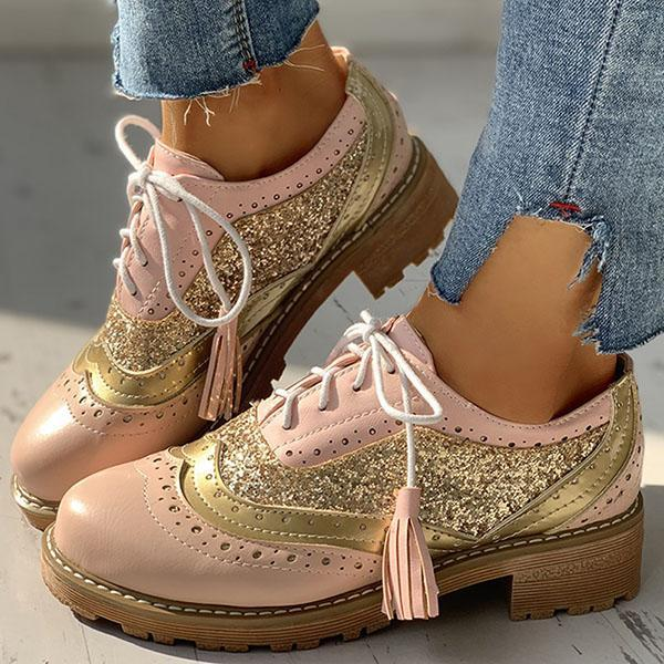 Flamechill Lace-Up Sequins Insert Chunky Heeled Boots