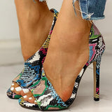 Flamechill Colorblock Snakeskin Open Toe Thin Heeled Sandals