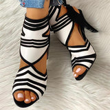 Flamechill Colorblock Striped Peep Toe Thin Heeled Heels