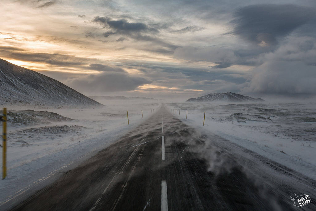 winter road driving in iceland