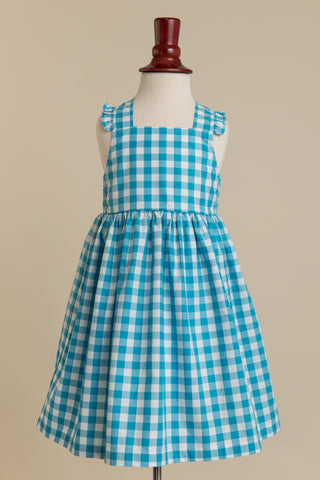 'Lillian' Dress in Turquoise Gingham with Ruffle Strap