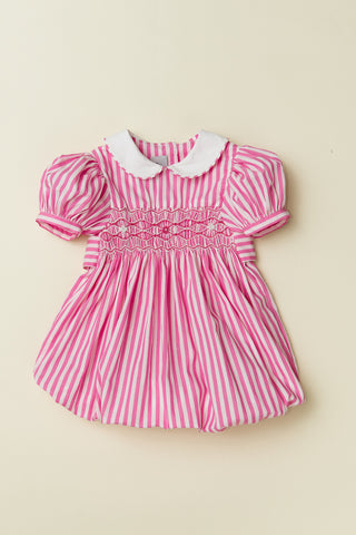 Hot Pink Stripe Bubble with Peter Pan Collar and Puff Sleeve