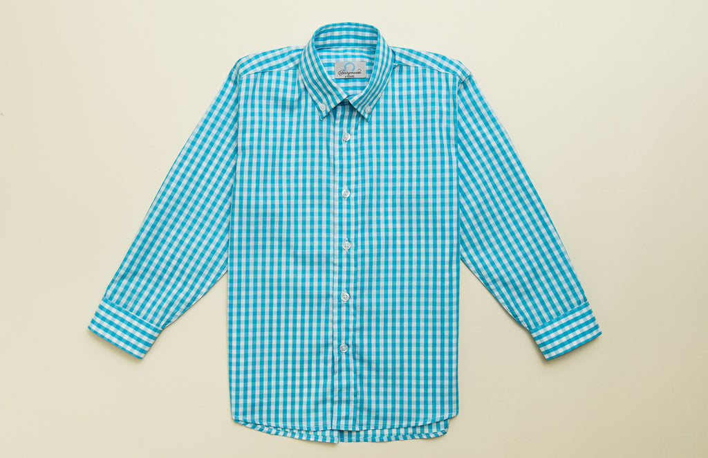 33877f9a98c Boys Turquoise Check Button-down Shirt – pennymeade