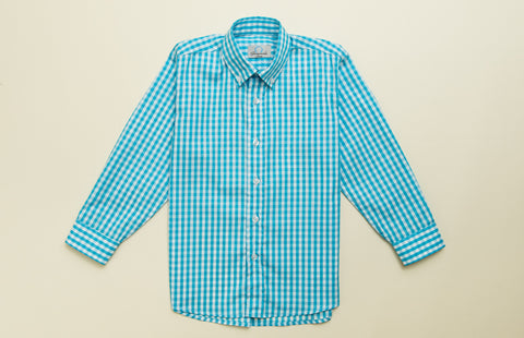 Boys Turquoise Check Button-down Shirt