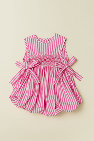 Hot Pink Stripe Sleeveless Bubble