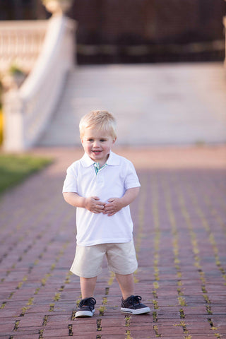 Boys White Polo with Green Placket
