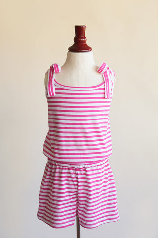 'Ashlyn' Romper in Pink Stripes