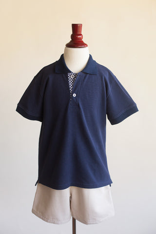 Boys Navy Polo with Gingham Placket