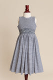 Older Girl Candy Striped Navy Dress