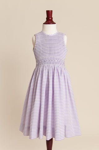 Older Girl Candy Striped Lavender Dress