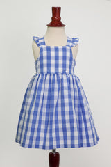 'Lillian' Dress in Cornflower Blue Gingham with Ruffle Strap