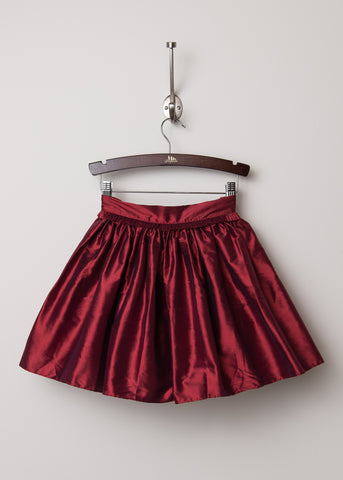 Ruby Red Silk Taffeta Party Skirt