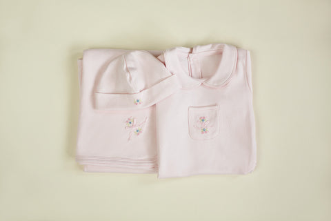 Girls Signature Layette Three Piece Set
