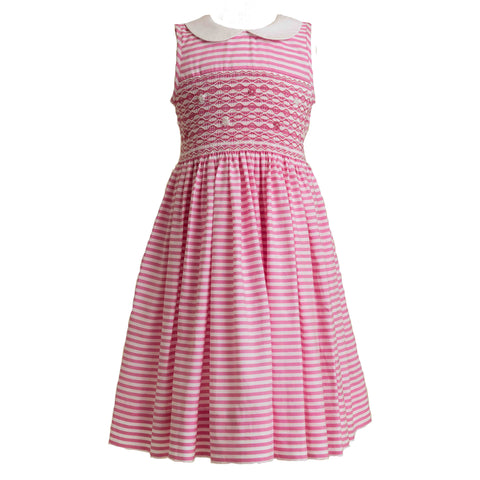 Hot Pink Stripe Smocked Peter Pan Collar Dress