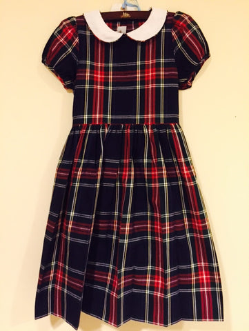 Yuletide Plaid Dress with Peter Pan Collar