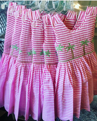 Pink and White Stripe Palm Tree Dress