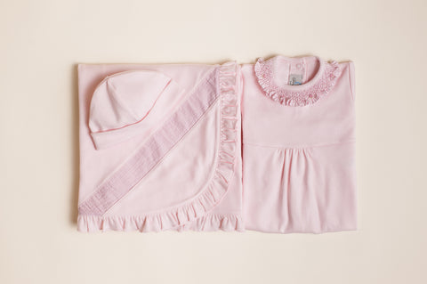 Girls Seersucker Layette Three Piece Set