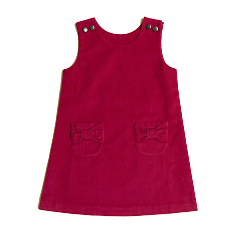 Little Girl Cherry Corduroy Jumper Dress
